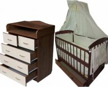 Promotion! Set: Dresser+ crib pendulum Natalka+ mattress + bed. New